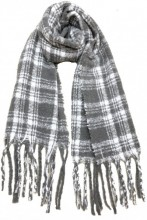 T-K2.2 S108-003 Thick Checkered Winter Scraf  50x180cm Grey