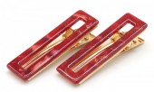 E-E8.3  H413-003 Hair Clip Set 2pcs Marble Red