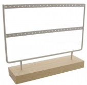 Z-A2.4 PK424-003 Wood with Metal Earring Display  27x22x7cm White
