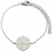 B-D15.1 B2003-016 S. Steel Bracelet 15mm Coin Silver
