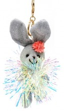 S-H6.4 KY2035-001B Keychain Glitter Bunny 15cm Silver