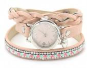 E-E3.5 WA1202 PU Wrap Watch with Crystals Pink