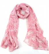 X-L4.1  S313-006 Scarf with Leaves 80x190cm Pink