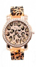 WA202-001 Quartz Watch with Leopard Print and Crystals Rose Gold-Brown Leopard
