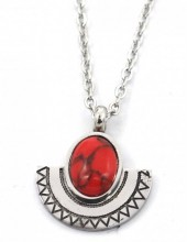 B-F6.5 N2004-002 S. Steel Necklace 15mm Aztek Charm and Stone Silver