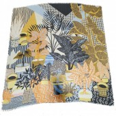 X-H3.2 SCARF508-005 Square Scarf with leaves 130x130cm