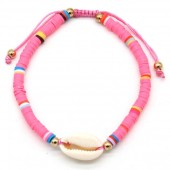 D-B9.2 B1925-009 Bracelet with Surf Beads and Shell Pink