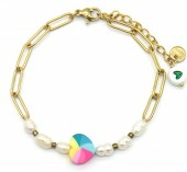 F-C16.1 B2126-022G S. Steel Bracelet Heart and Pearls Gold