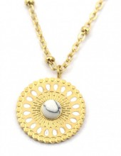 D-A18.4 N2020-007G S. Steel Necklace 15mm Charm with Marble Gold
