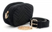 T-M6.1 BAG212-002 Velvet Combination Bag incl Belt 19x12x7cm Black