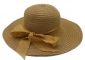 Y-D5.3 HAT210-027B Hat with Bow 39cm for Kids Brown