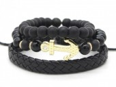 D-F15.1 B303-005 Bracelet Set 3pcs Leather-Beads-Anchor