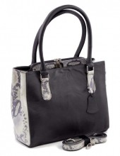 Q-K5.2  BAGE-911 Luxury Leather Bag 35x26cm Black - White