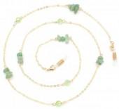 H-E17.1 GL441 Sunglass Chain Stones Green-Gold
