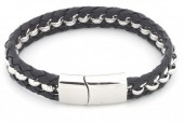 B105-005 Stainless Steel Bracelet with Leather Woven Through