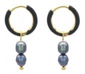 D-B20.4 E2142-026G S. Steel Earrings Freshwater Pearls 1x2.5cm