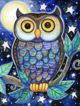 T-E3.1 Q135 Diamond Painting Set Owl 30x20cm