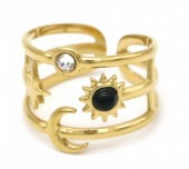 B-F5.1 R110248G S. Steel Ring Star and Moon Adjustable Gold