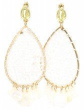G-B15.1 E536-109A Earrings Woven with Shells 8x3.5cm White