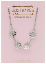 G-E7.1 N2053-011 S. Steel Necklace Flowers 36-39cm For Kids