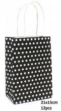 Y-D1.1  PK525-005B Paper Giftbag 21x15cm Dots 12pcs