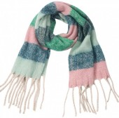 Z-A1.2 SCARF405-059C Soft Striped Winter Green-Blue-Pink
