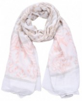 S-H5.1 S312-002 Scarf with Baroque Print 85x180cm Brown-Pink