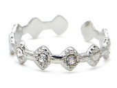 B-C5.3 R110231S S. Steel Ring Crystals Adjustable Silver