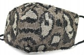 G-B22.1 FM042-035D Glitter Face Mask Leopard - Individually Packed - Grey