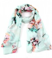 X-C7.2 S313-005 Scarf with Flowers 90x180cm Blue