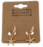 C-F6.2 E304-013 Metal Earrings with Starfish 2.5x1cm Gold