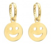 B-F10.1  E221-210G S. Steel Earrings Smiley 1x2cm Gold