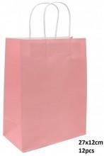Q-G8.2 PK525-003B Paper Giftbag 27x12cm Pink 12pcs