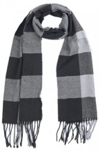 T-N6.2 SCARF406-001E Checkered Scarf with Fringes 170x31cm Grey