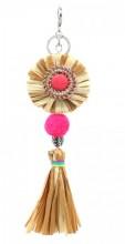 KY219-004 Key-Bag Chain Straw with Pompon Brown