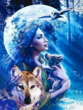 R-I4.2 GS289 Diamond Painting Set Wolves Lady Moonlight 50x40cm
