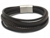 E-B10.1 B1642-015B S. Steel with Leather Bracelet 21cm Brown