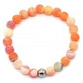 A-A5.1 B2121-001 Cracked Agate Bracelet Orange