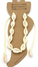 J-B10.2 ANK2001-001B Anklet with Shells Beige