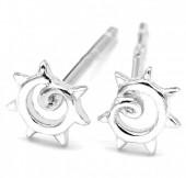 E-B7.4 SE104-117 925S Silver Earrings Swirl 4mm