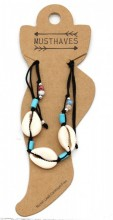 E-B3.1 ANK221-014 Anklet with Shells Black