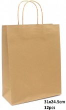 R-B3.2  PK525-004B Paper Giftbag 31x24.5cm Brown 12pcs