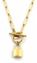 E-B22.3 N2033-020G S. Steel Necklace with 16mm Padlock Gold 51 cm