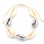 D-F2.2 B302-003 Bracelet with Shells and Plated Shells Silver