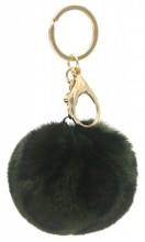 X-M1.2 KY414-002D Fluffy Bag-Keychain 7cm Leopard Green