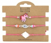 F-A20.1 B316-001 Bracelet Set 3pcs Unicorn Pink
