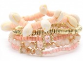G-F3.3 B536-056A Bracelet with Shells Gold-Pink
