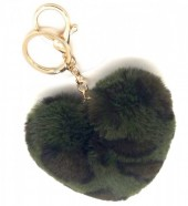 X-K6.1 KY414-001D Fluffy Keychain 10cm Heart Leopard Green