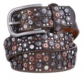 H-A1.1 FTG-060 PU with Leather Belt with Studs-Stars-Crystals 3.5x85cm Bronze