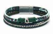 B-B11.2 B1633-010K PU Bracelet Leopard with Crystals GreenB-B11.2 B1633-010K PU Bracelet Leopard with Crystals Green